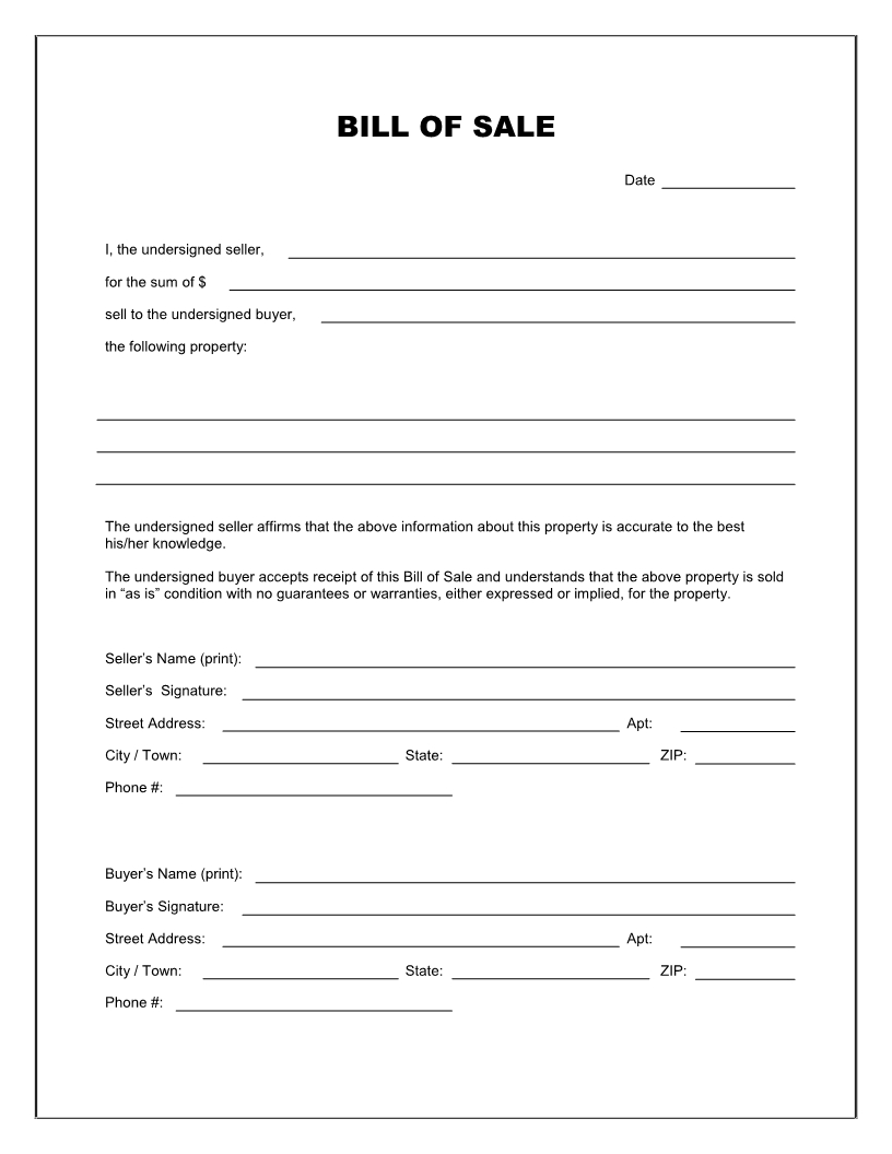 Free Printable Blank Bill Of Sale Form Template - As Is Bill Of Sale - Find Free Printable Forms Online