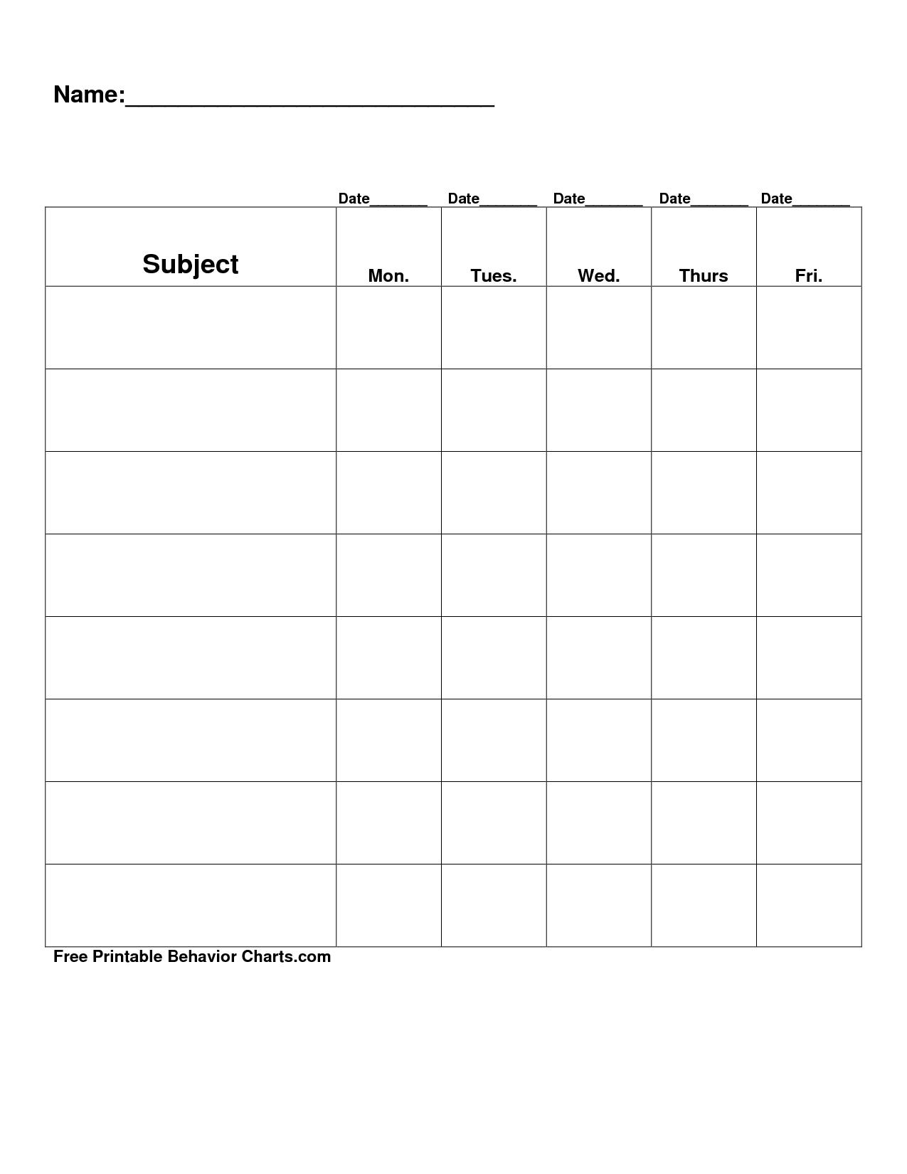 Free Printable Blank Charts | Free Printable Behavior Charts Com - Free Printable Charts