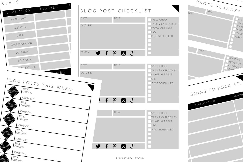 Free Printable Blog Planner & Downloadable Spreadsheet   Tea Party - Free Printable Blog Planner