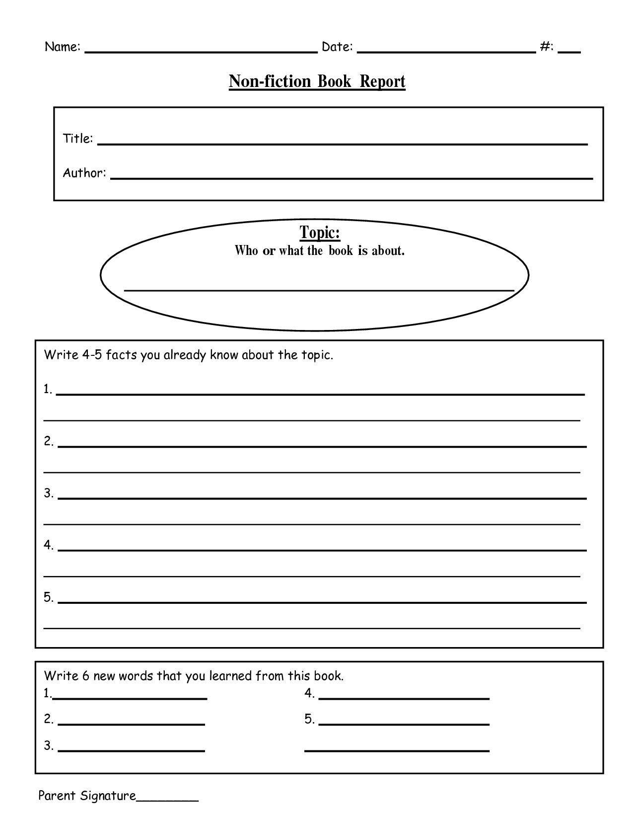 Free Printable Book Report Templates | Non-Fiction Book Report.doc - Free Printable Stories For 4Th Graders