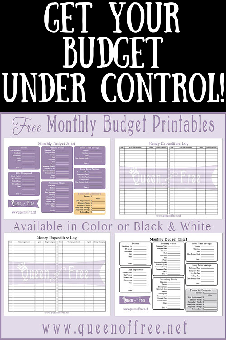 Free Printable Budget Worksheet - Queen Of Free - Free Printable Budget Forms