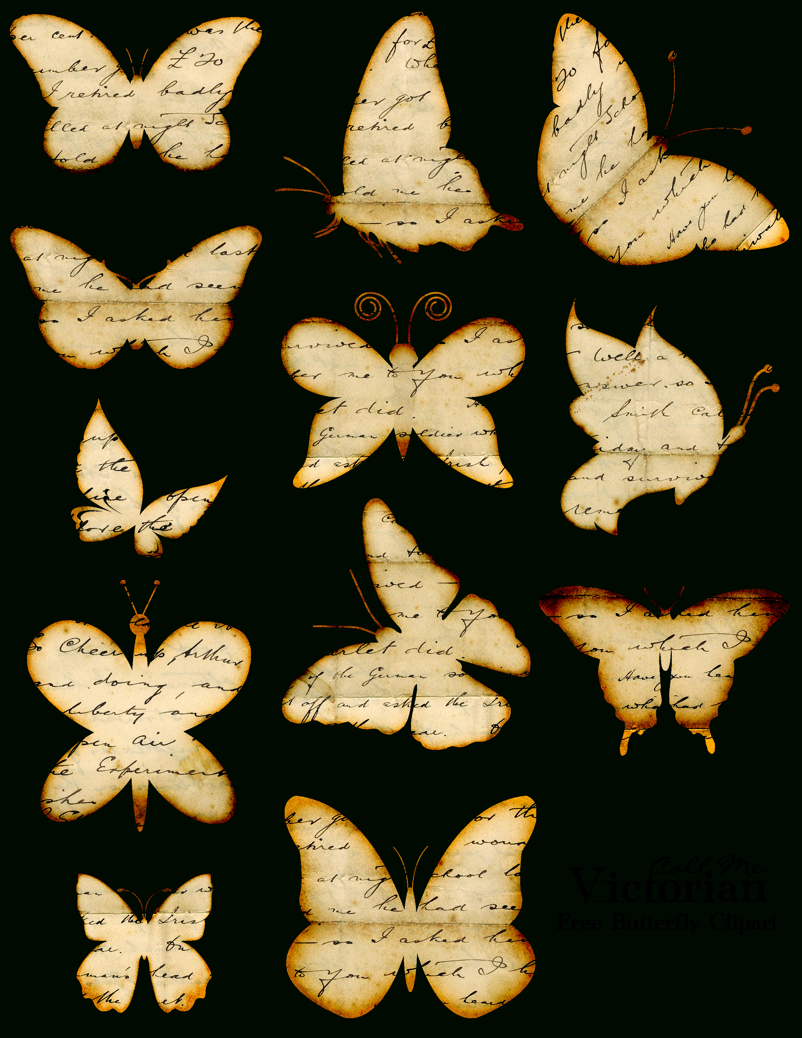 Free Printable* Butterfly Images With Distressed Writing | French - Free Printable Butterfly Pictures