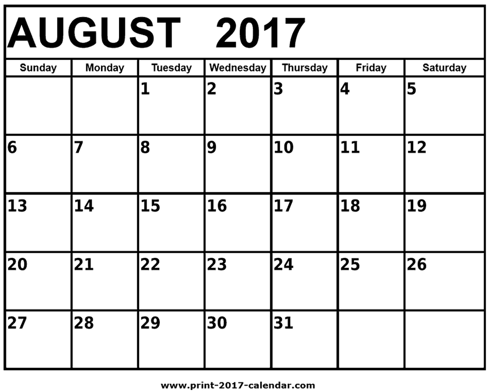 Free Printable Calendar August 2017 | Aaron The Artist - Free Printable August 2017