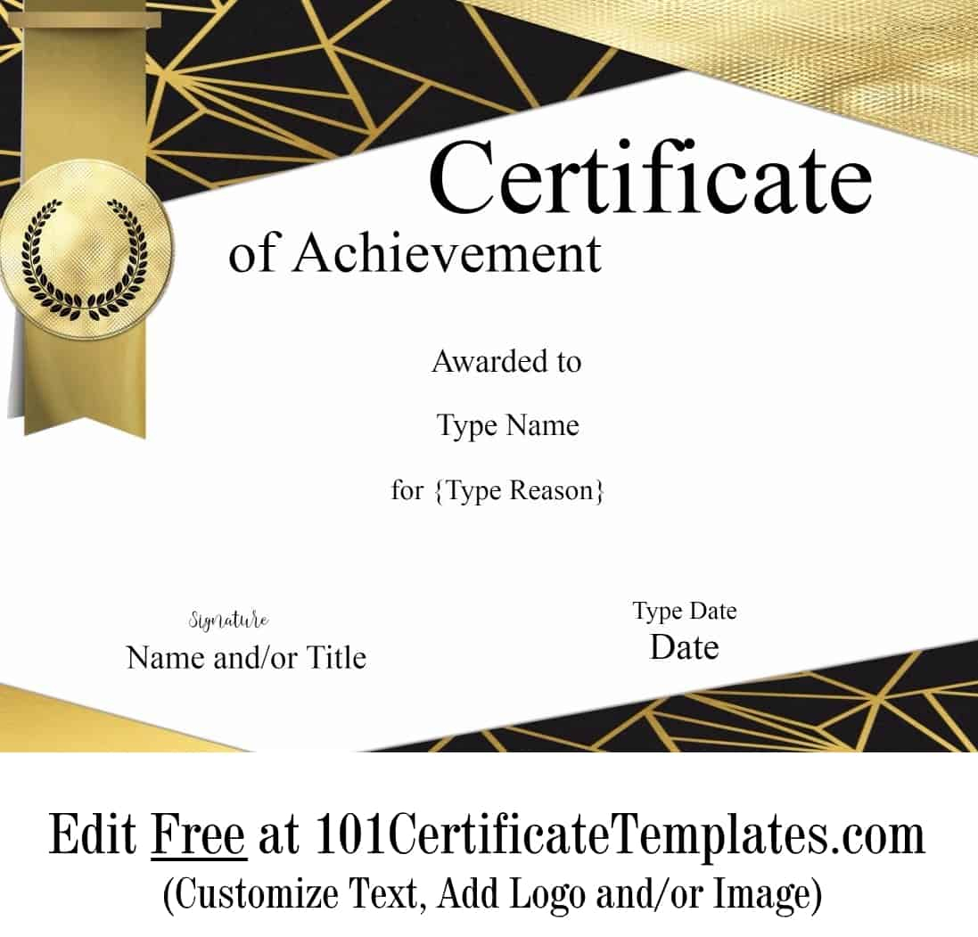 Free Printable Certificate Of Achievement   Customize Online - Free Customizable Printable Certificates Of Achievement