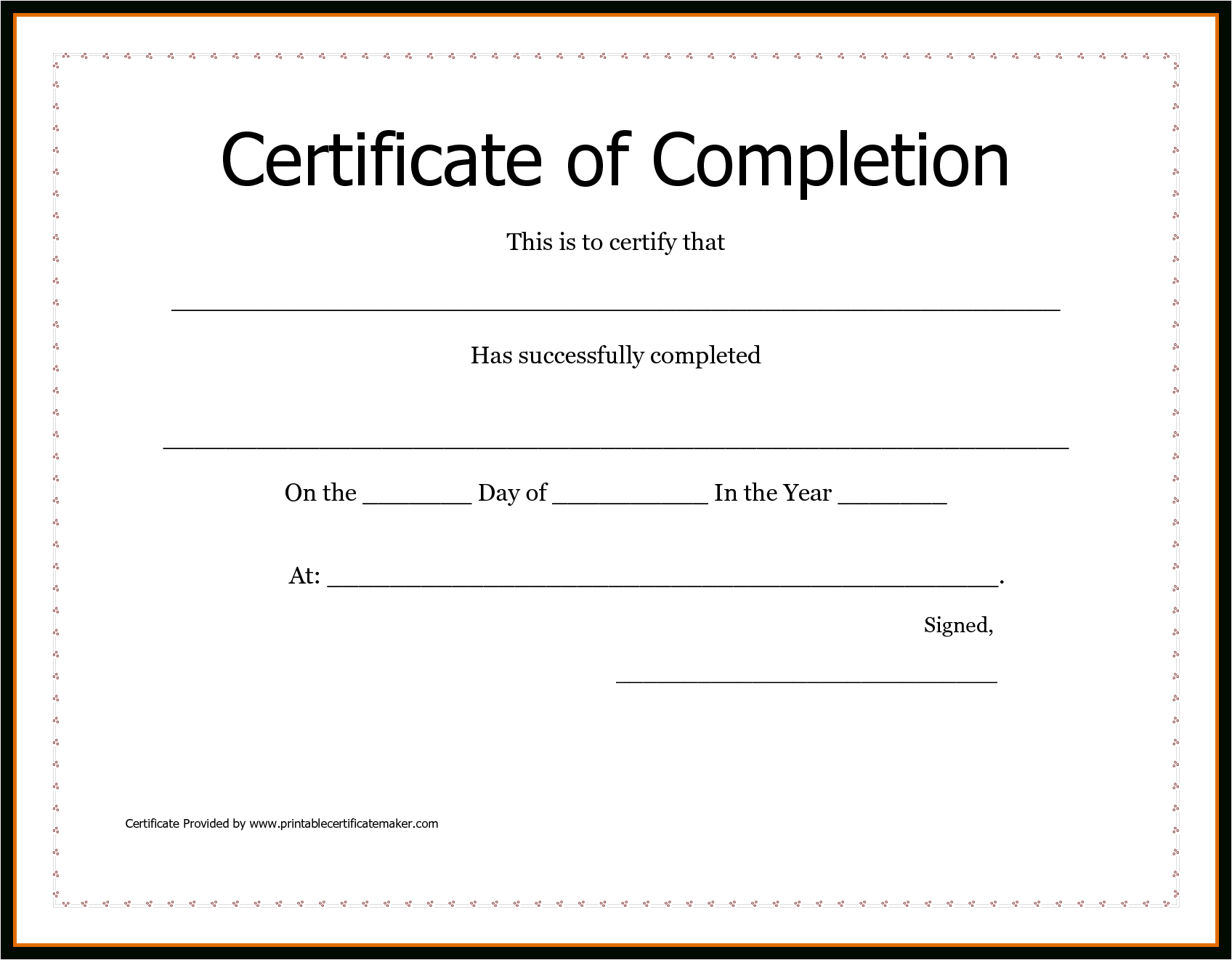 Free Printable Certificate Of Achievement Word Template Letter - Certificate Of Completion Template Free Printable