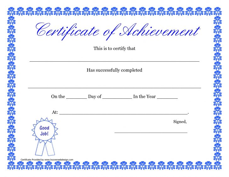 Free Printable Certificates Of Accomplishment