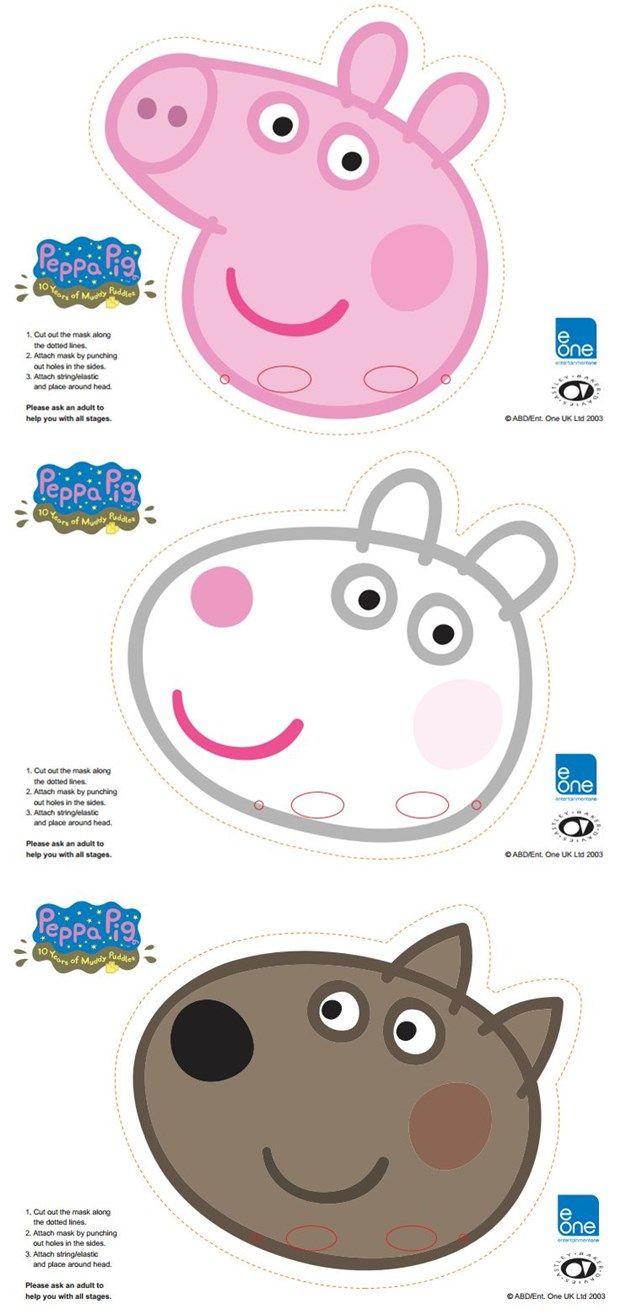 Free Printable Character Face Masks | Peppa Pig | Pinterest - Peppa Pig Character Free Printable Images