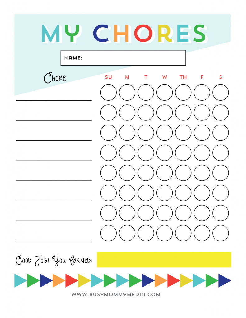 Free Printable - Chore Chart For Kids | Ogt Blogger Friends - Free Printable Job Charts For Preschoolers