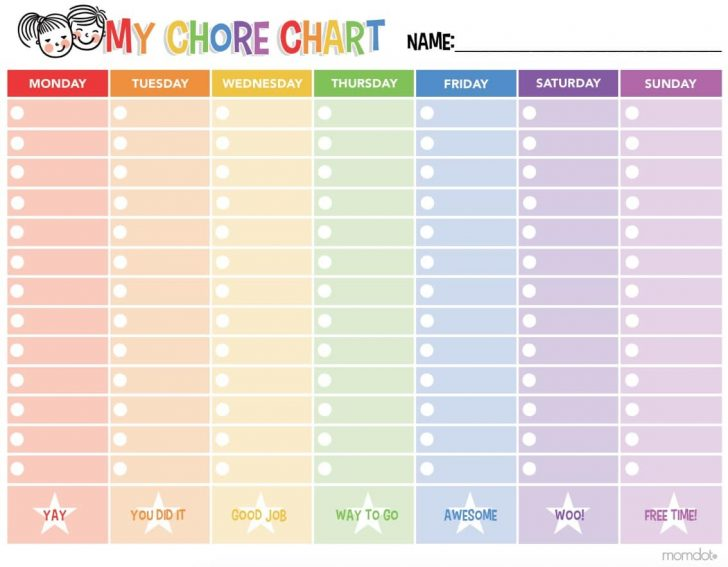 Free Printable Chore Charts For Kids With Pictures
