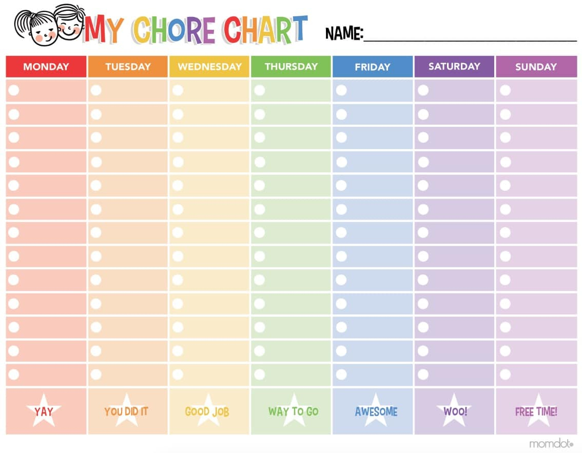 Free Printable Chore Chart - - Free Printable Chore Charts For Kids With Pictures