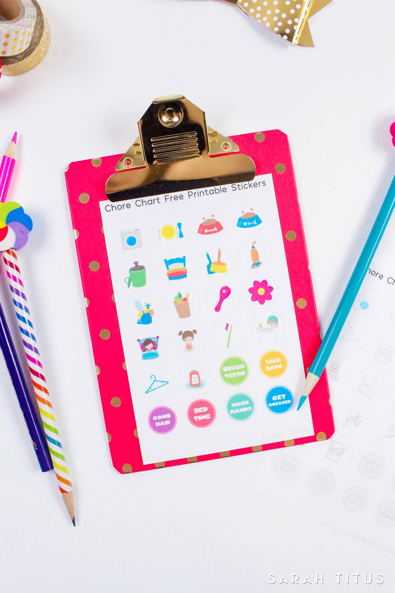 Free Printable Chore Chart Stickers - Sarah Titus - Chore Stickers Free Printable