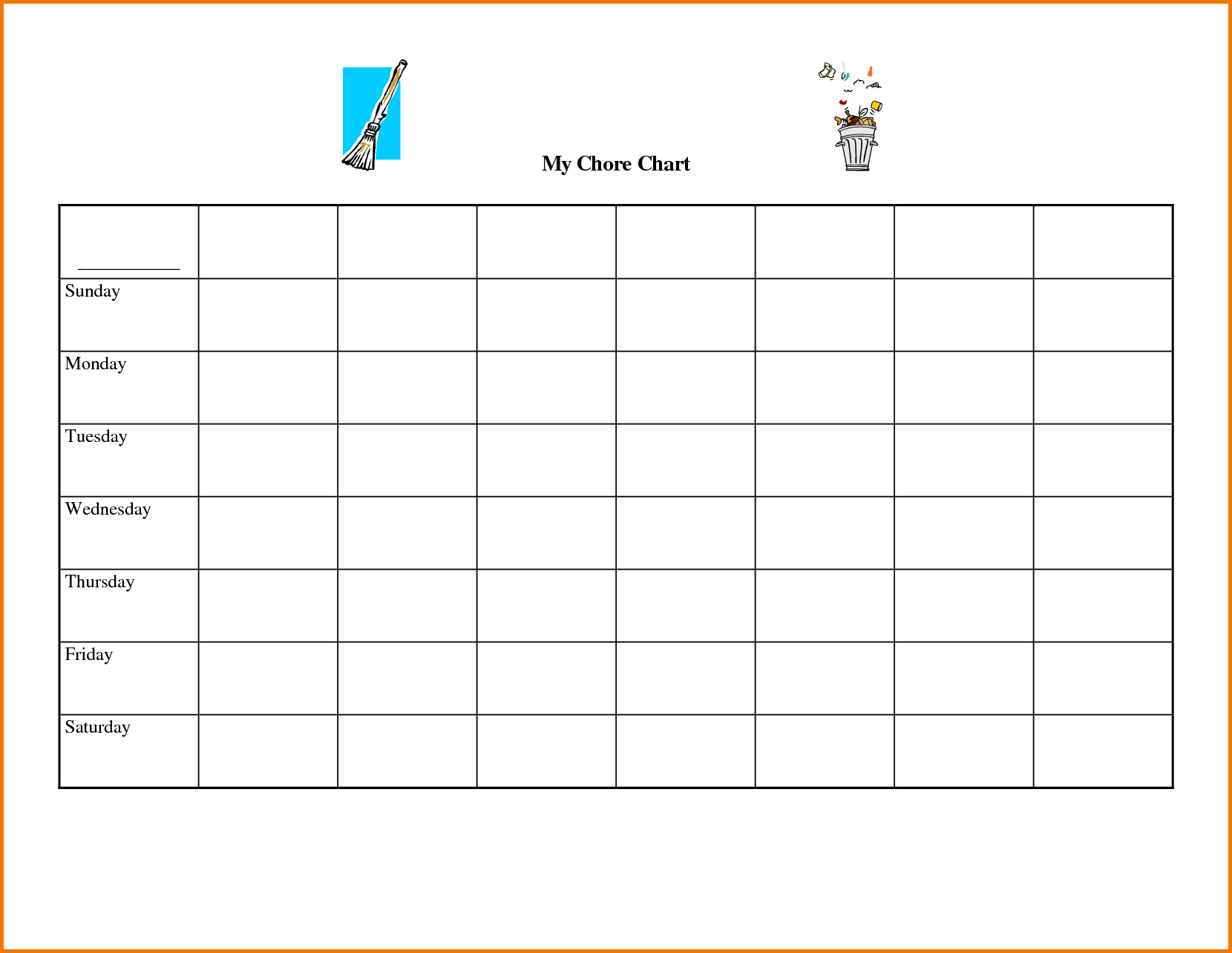 Free Printable Chore Chart Templates | Authorization Letter Pdf - Charts Free Printable