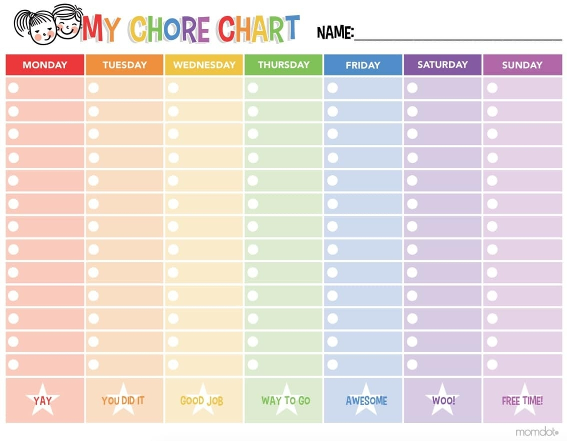 Free Printable Chore Chart – Yaman.startflyjobs.co Intended For Free - Chore Chart For Adults Printable Free