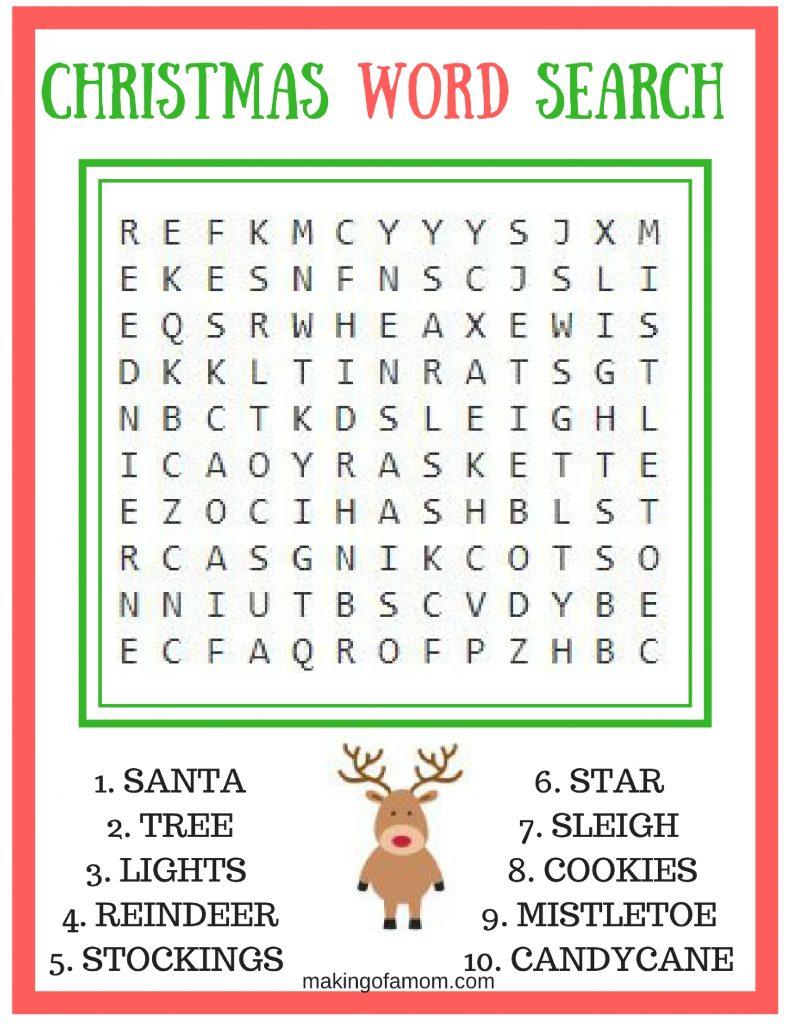 Free Printable Christmas Games - Making Of A Mom - Free Printable Christmas Word Games