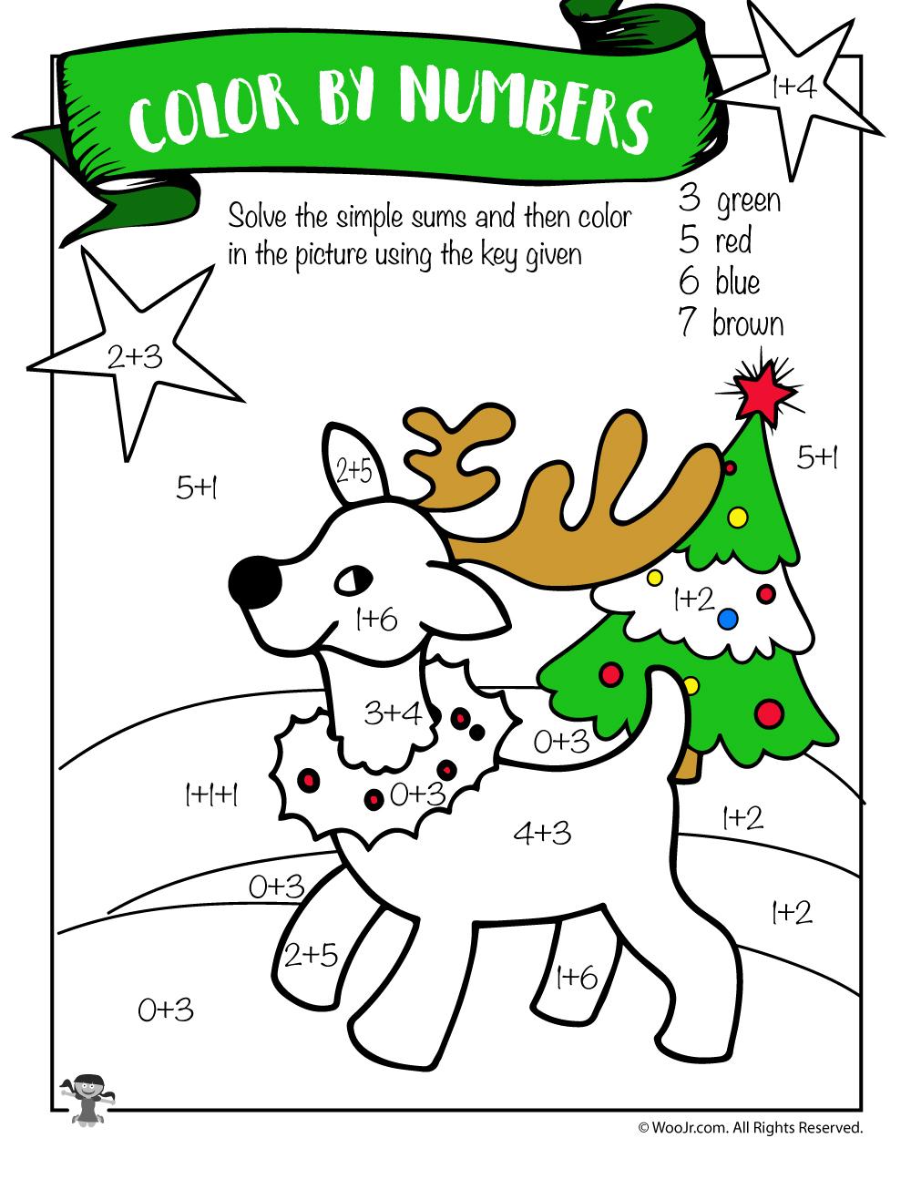 Free Printable Christmas Math Worksheets: Pre K, 1St Grade & 2Nd - Free Printable Math Coloring Worksheets For 2Nd Grade