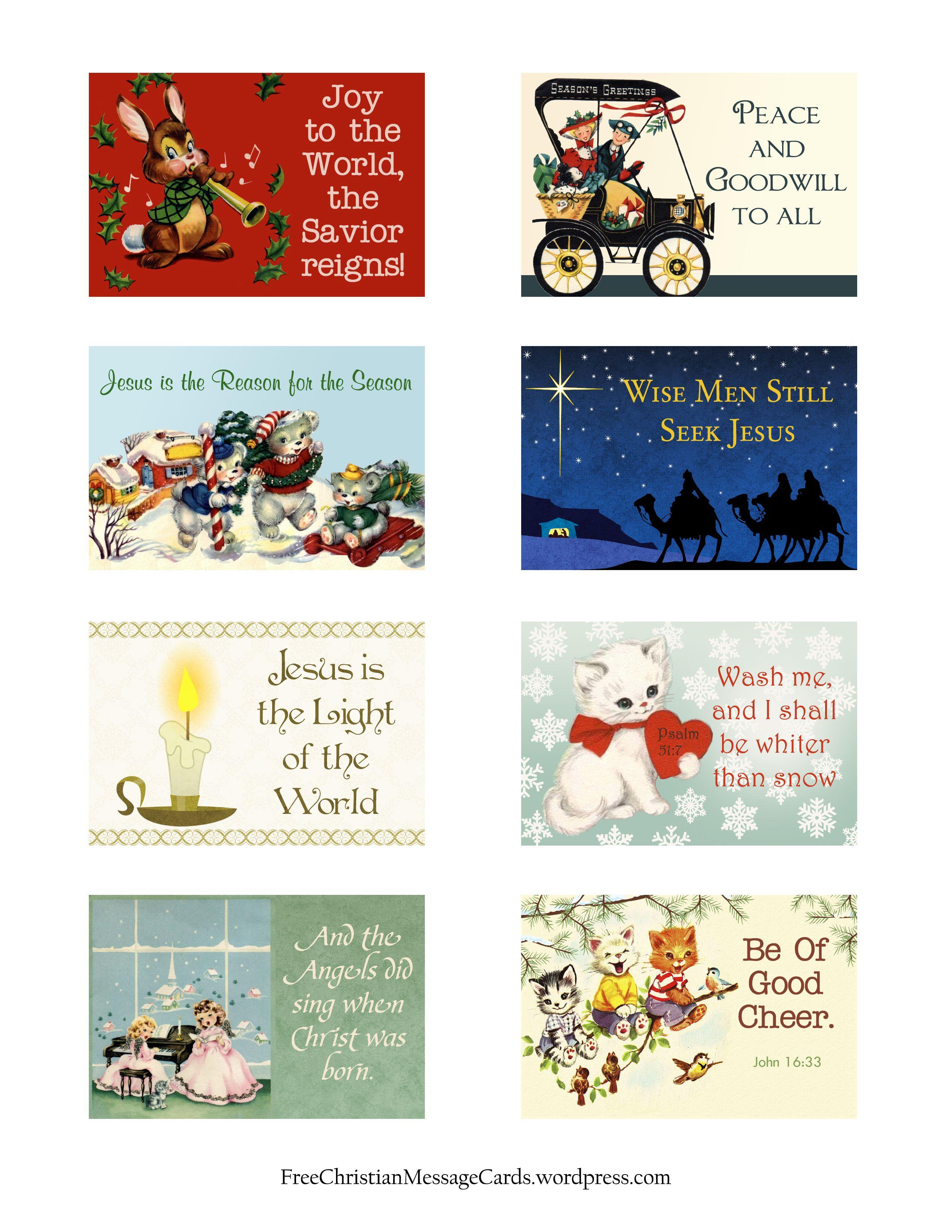 Free Printable Christmas Message Cards – Variety Sheet   Christmas - Free Printable Message Sheets