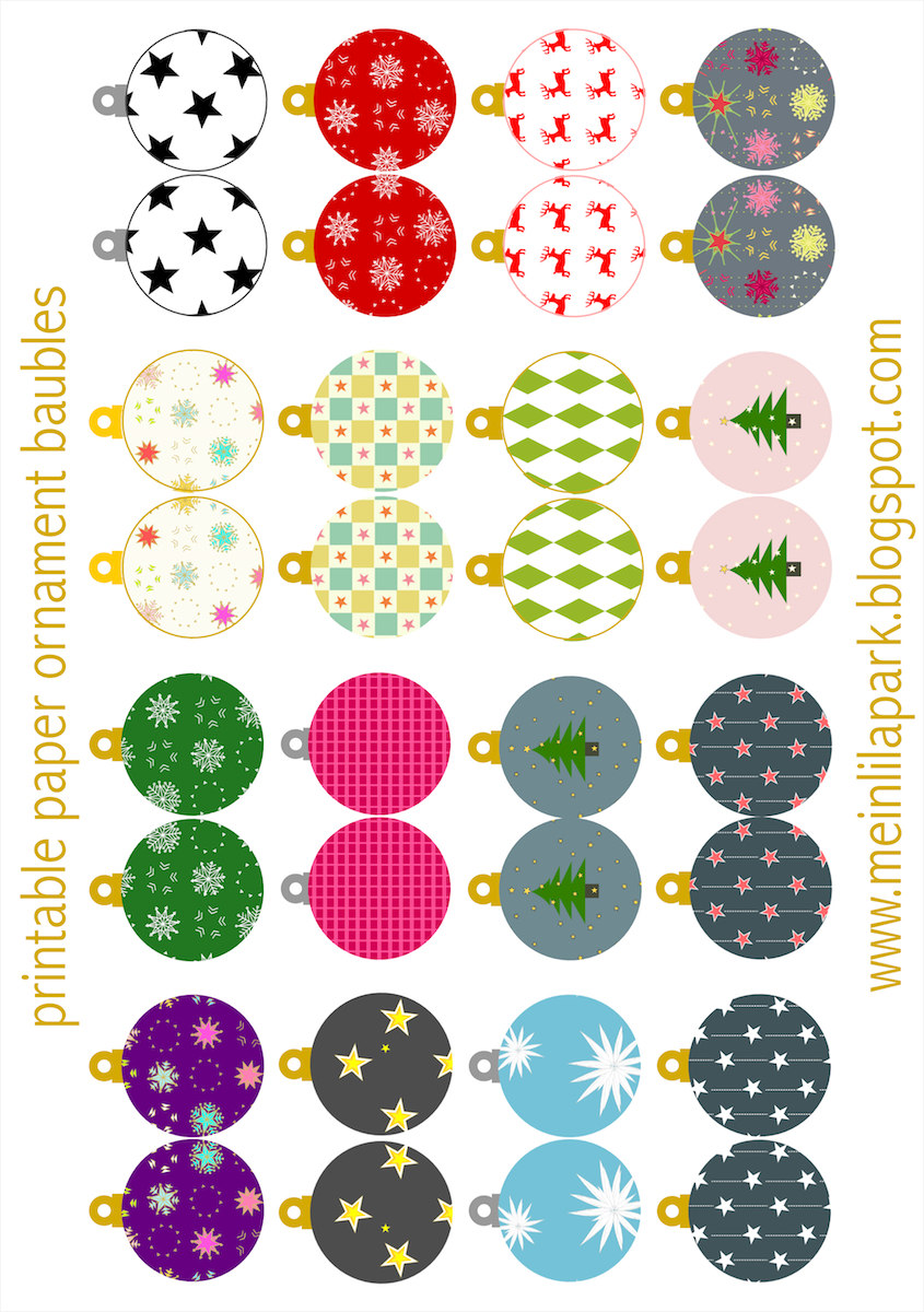 Free Printable Christmas Ornaments: Baubles - Ausdruckbarer - Free Printable Christmas Ornament Crafts