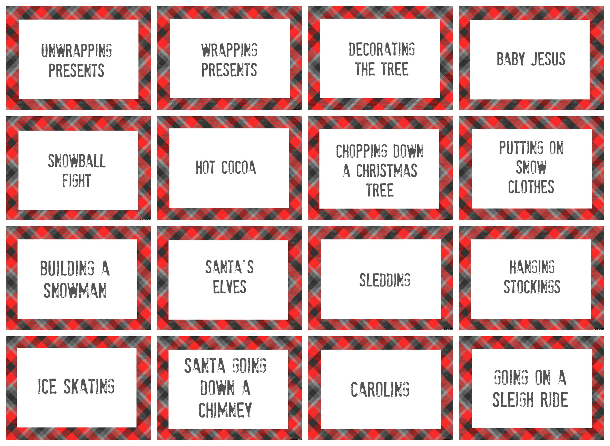 Free Printable Christmas Pictionary Cards – Festival Collections - Free Printable Christmas Pictionary Cards