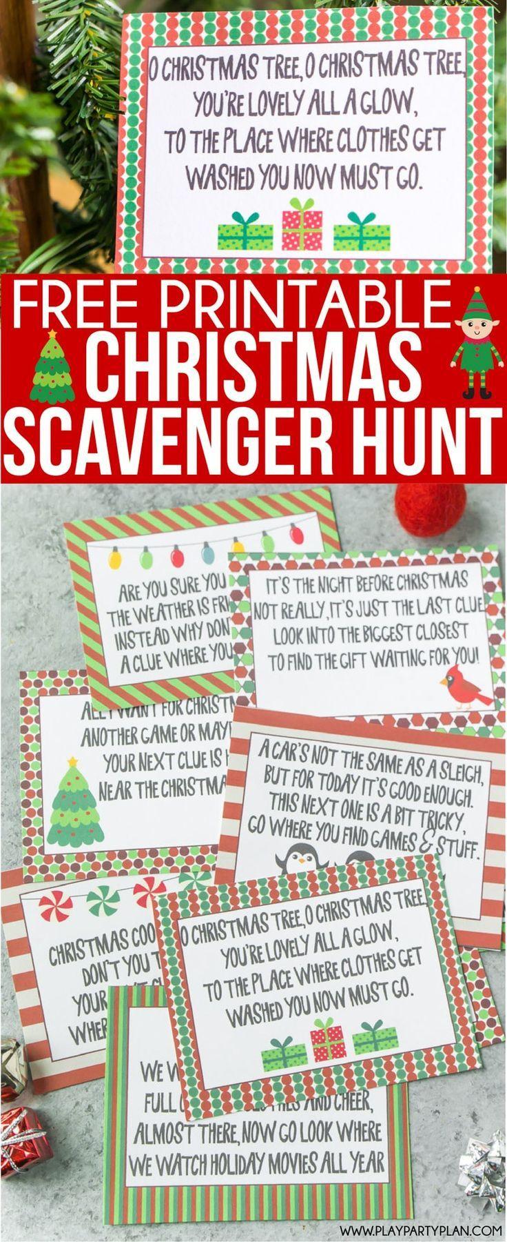 Free Printable Christmas Scavenger Hunt Clues For Kids Or For Teens - Free Printable Christmas Treasure Hunt Clues
