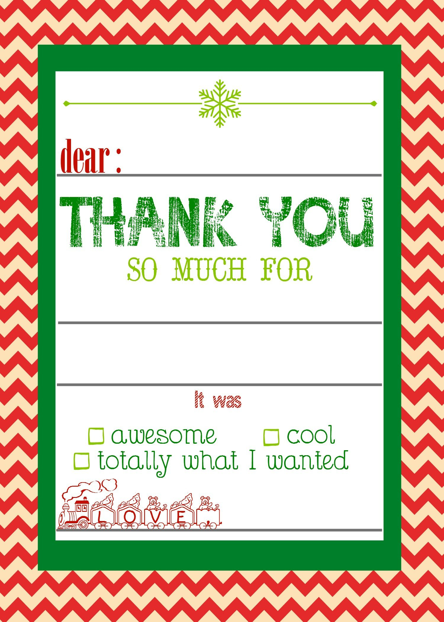 Free, Printable Christmas Thank You Cards For Kids | Christmas - Christmas Thank You Cards Printable Free