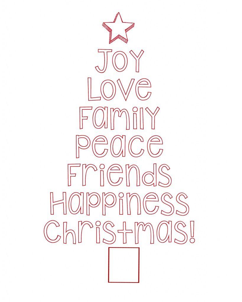 Free Printable Christmas Tree Word Art & Pillow Idea | Xmas | Free - Merry Christmas Stencil Free Printable