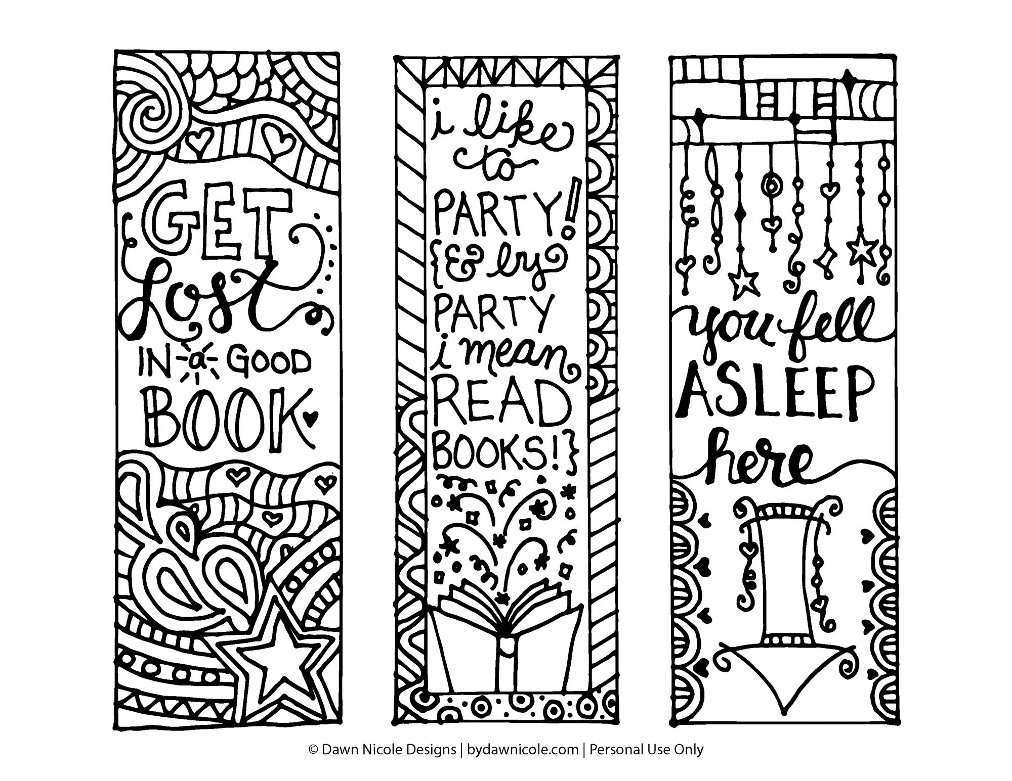 Free Printable Coloring Page Bookmarks | Dawn Nicole Designs® - Free Printable Bookmarks To Color