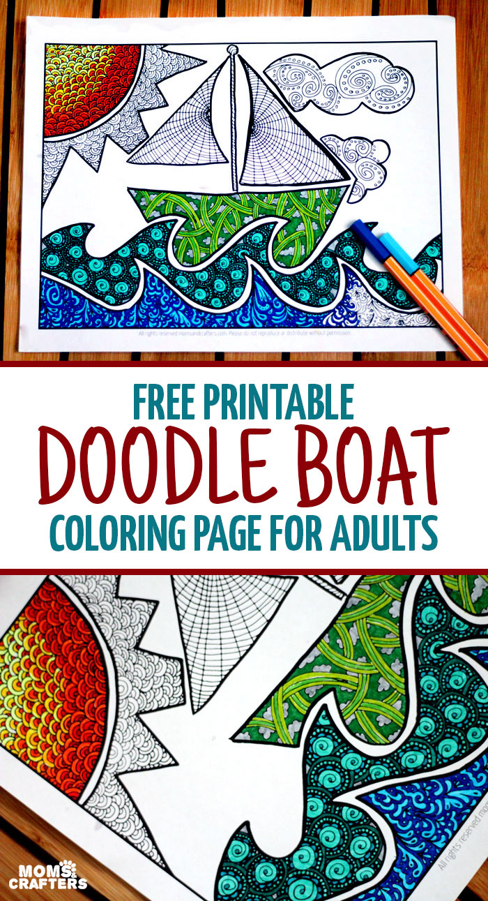 Free Printable Coloring Page For Adults: Doodle Boat! - Free Printable Boat Pictures