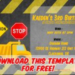 Free Printable Construction Vehicles Birthday Invitation Templates   Free Printable Construction Invitations