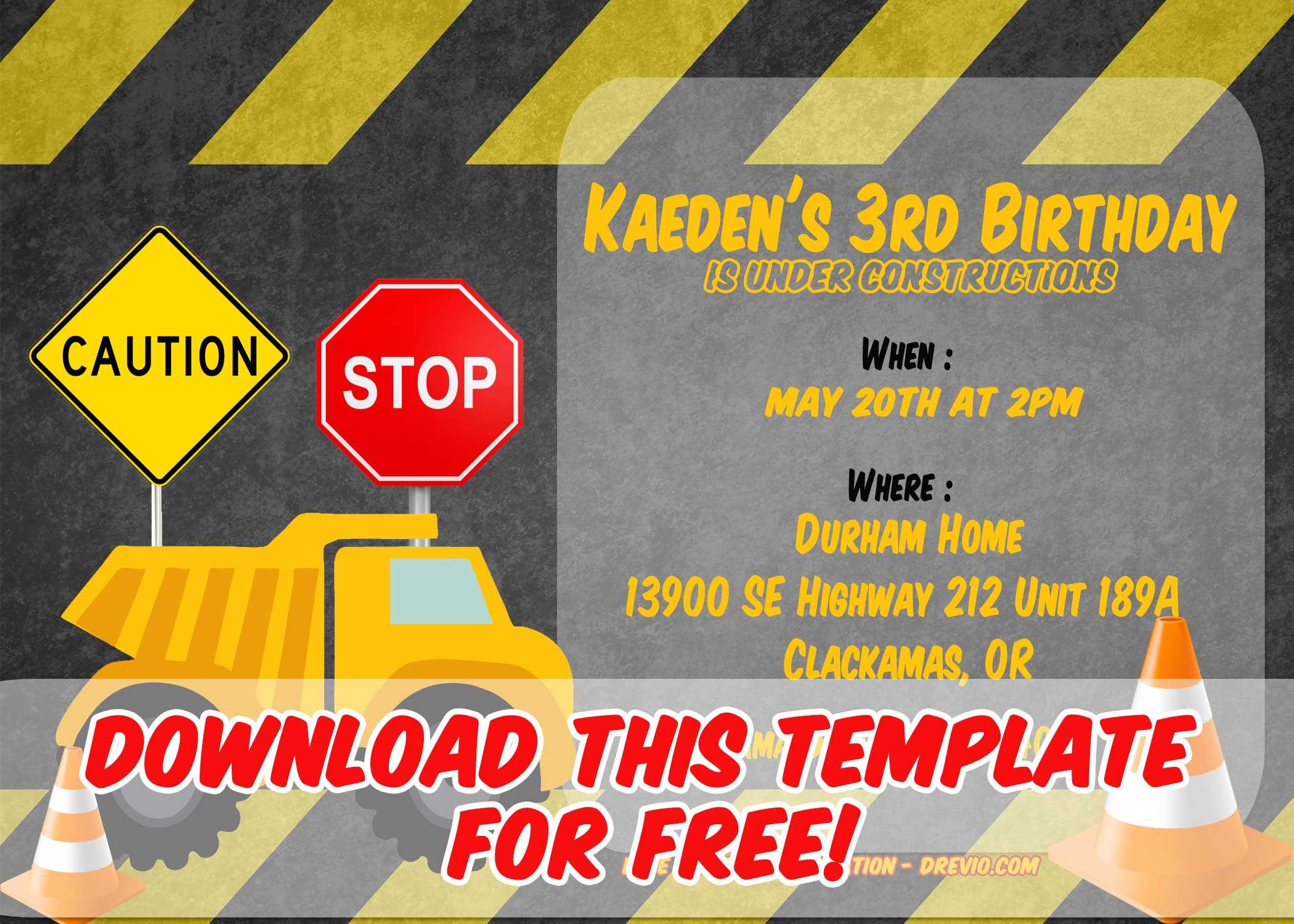 Free Printable Construction Vehicles Birthday Invitation Templates - Free Printable Construction Invitations