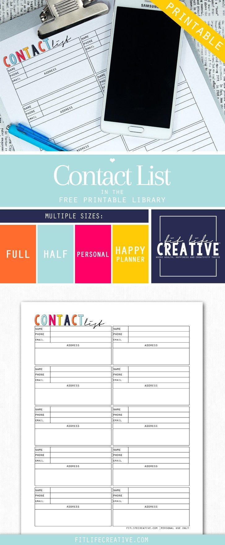Free Printable Contact List Planner Insert. Available In Multiple - Free Printable Contact List