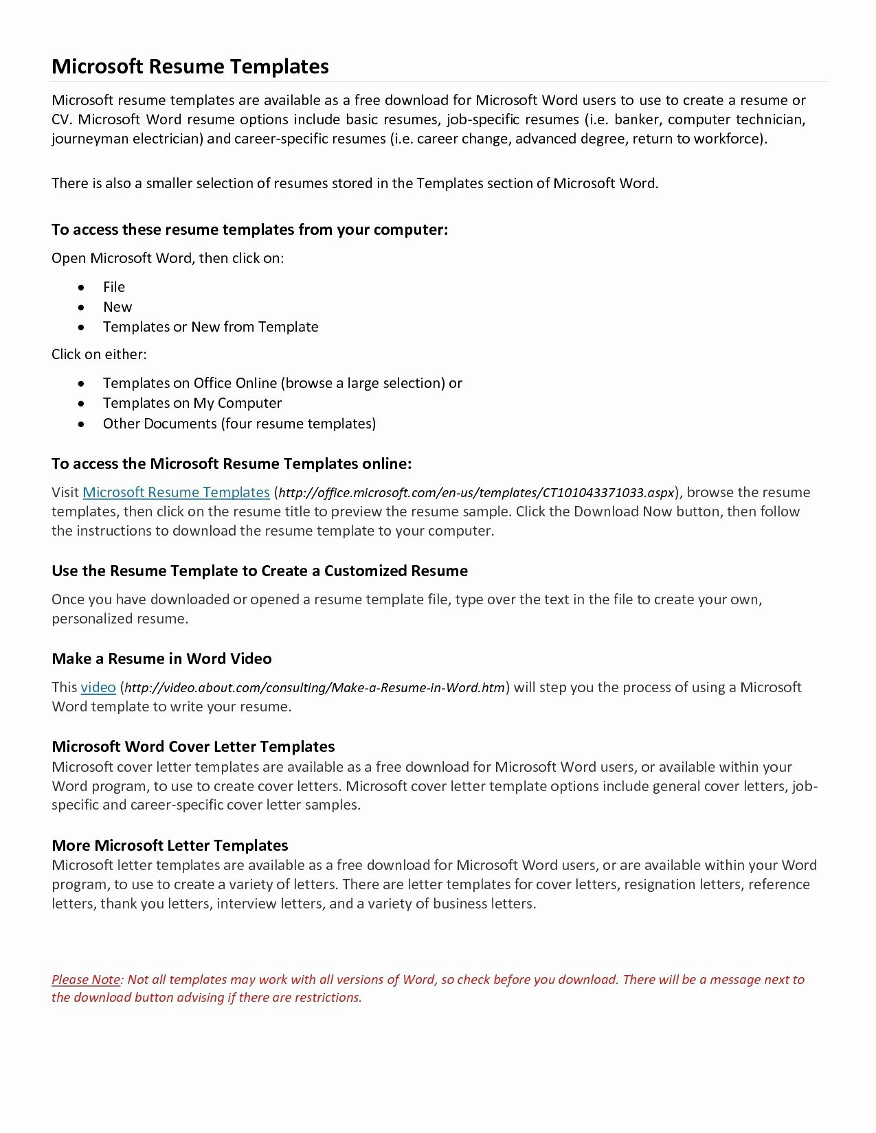 Free Printable Cover Letter Templates Beautiful Download Microsoft - Free Printable Resume Templates Microsoft Word