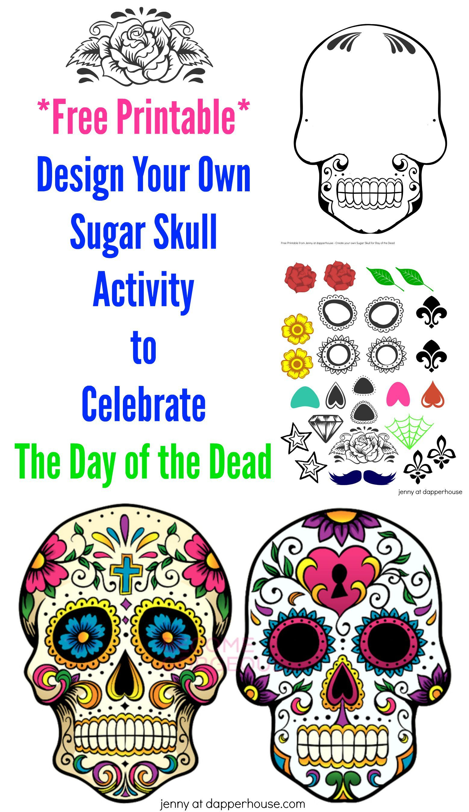 Free Printable Create A Sugar Skull For Day Of The Dead Activity - Free Printable Sugar Skull Day Of The Dead Mask