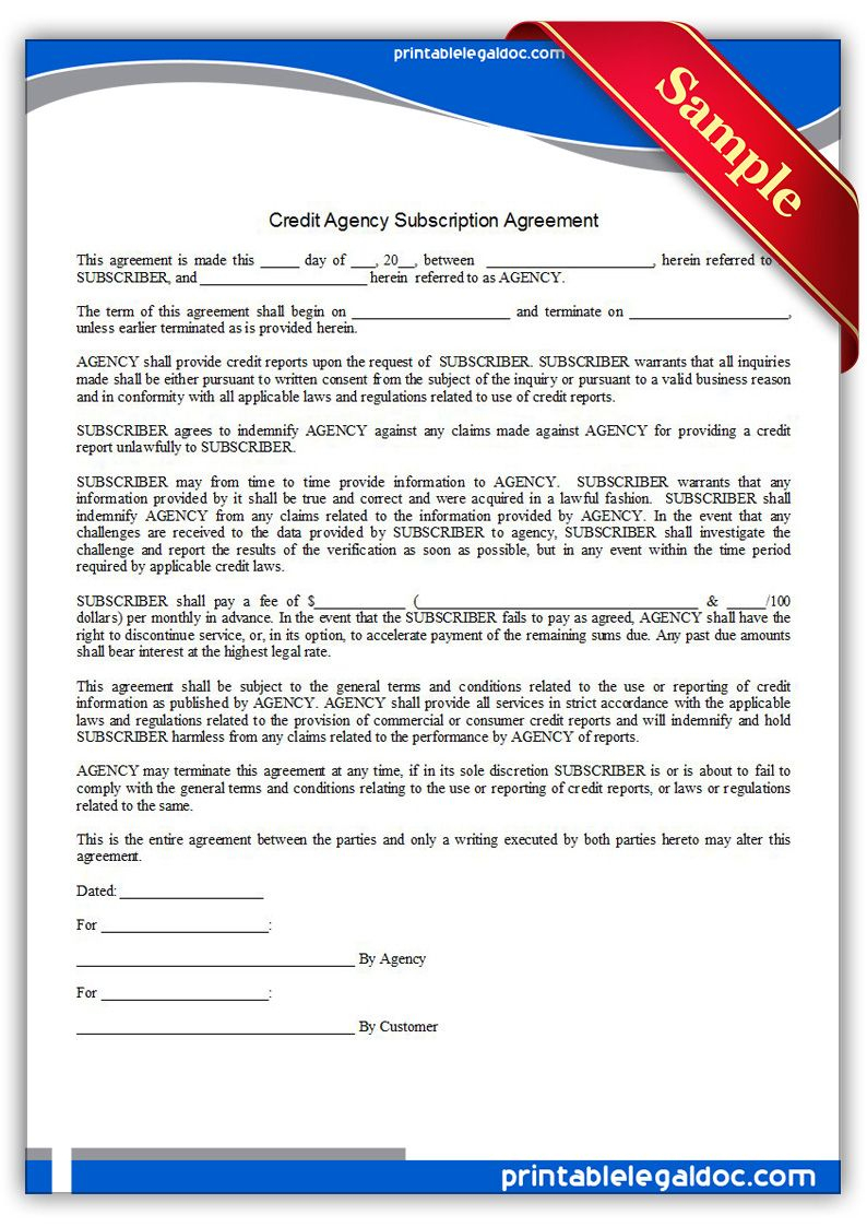Free Printable Credit Agency Subscription Agreement | Sample - Free Printable Credit Report