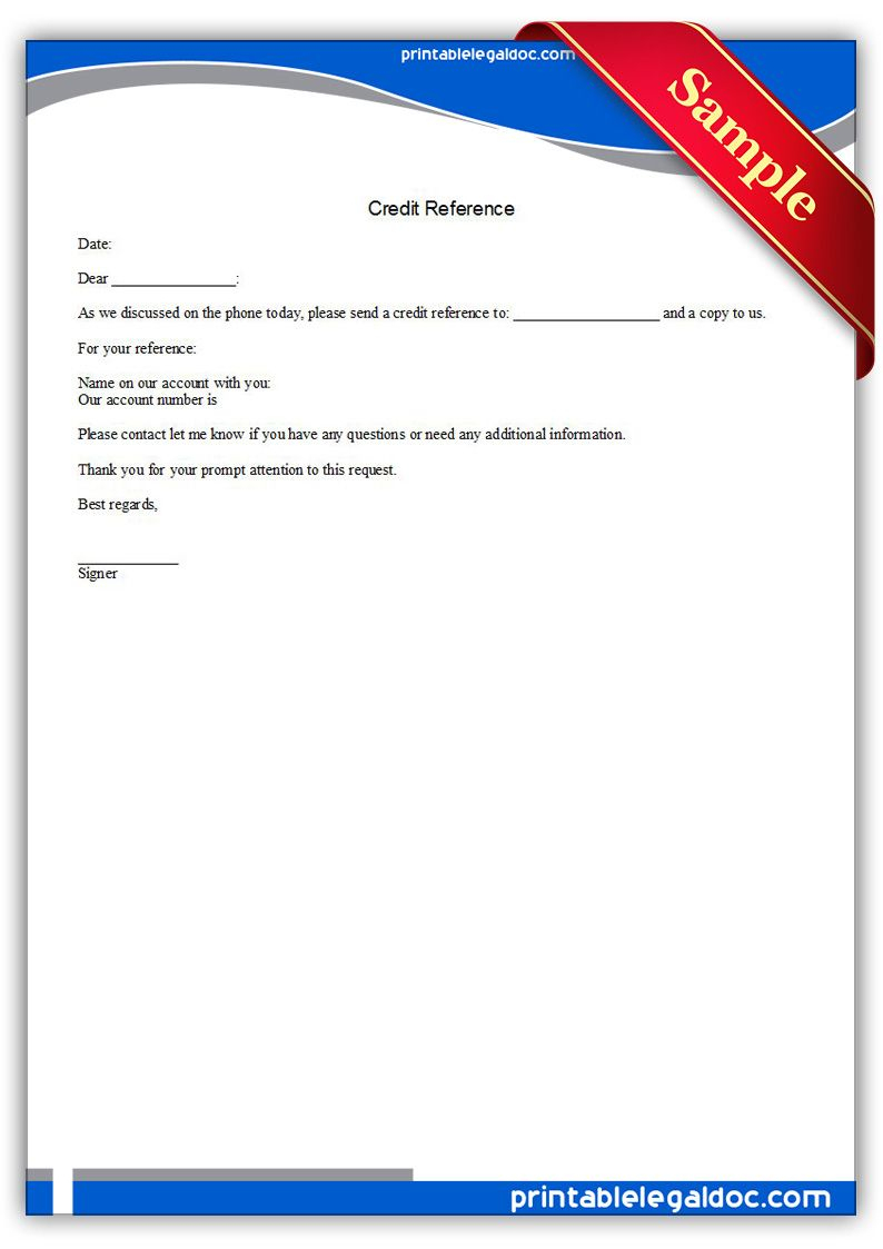 Free Printable Credit Reference Legal Forms   Free Legal Forms - Free Legal Forms Online Printable