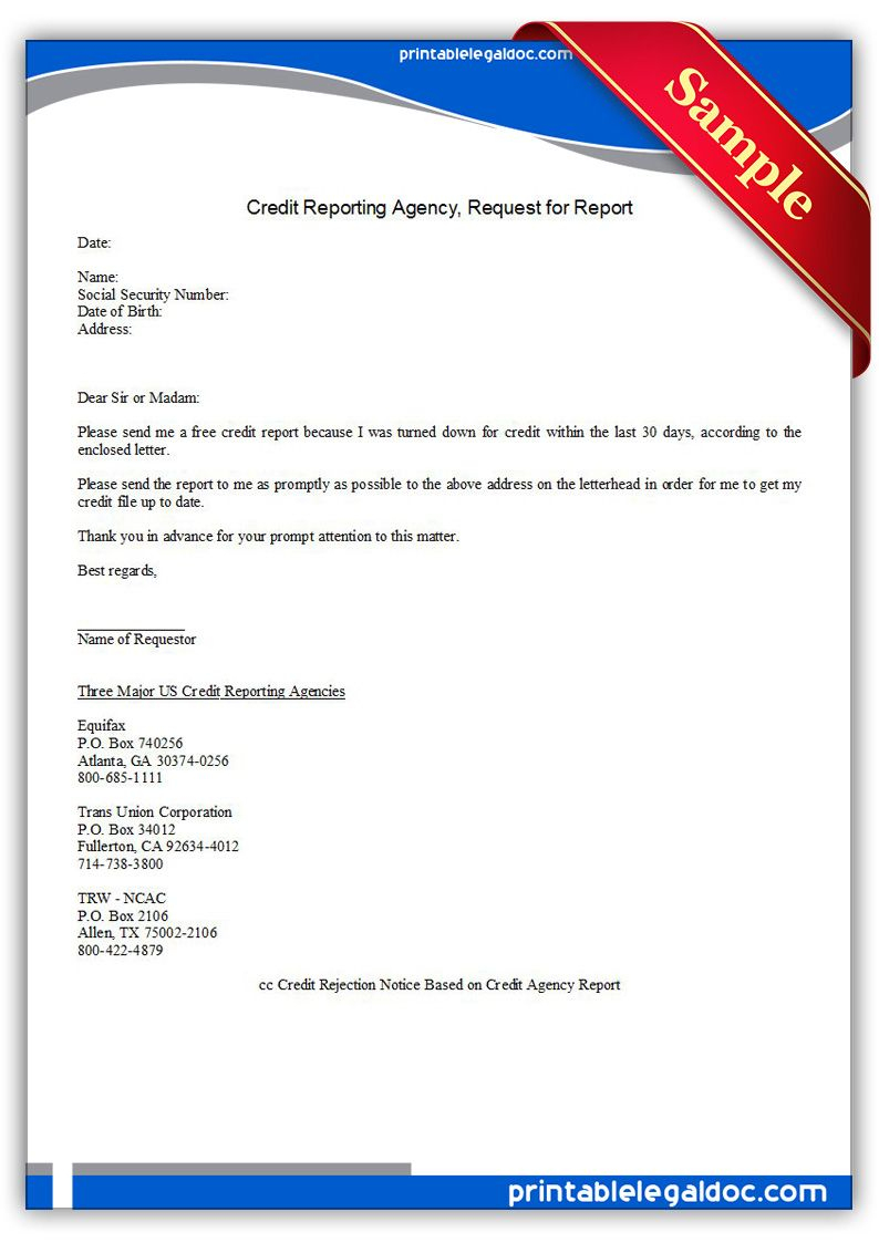Free Printable Credit Reporting Agency, Request For Report | Sample - Free Printable Credit Report