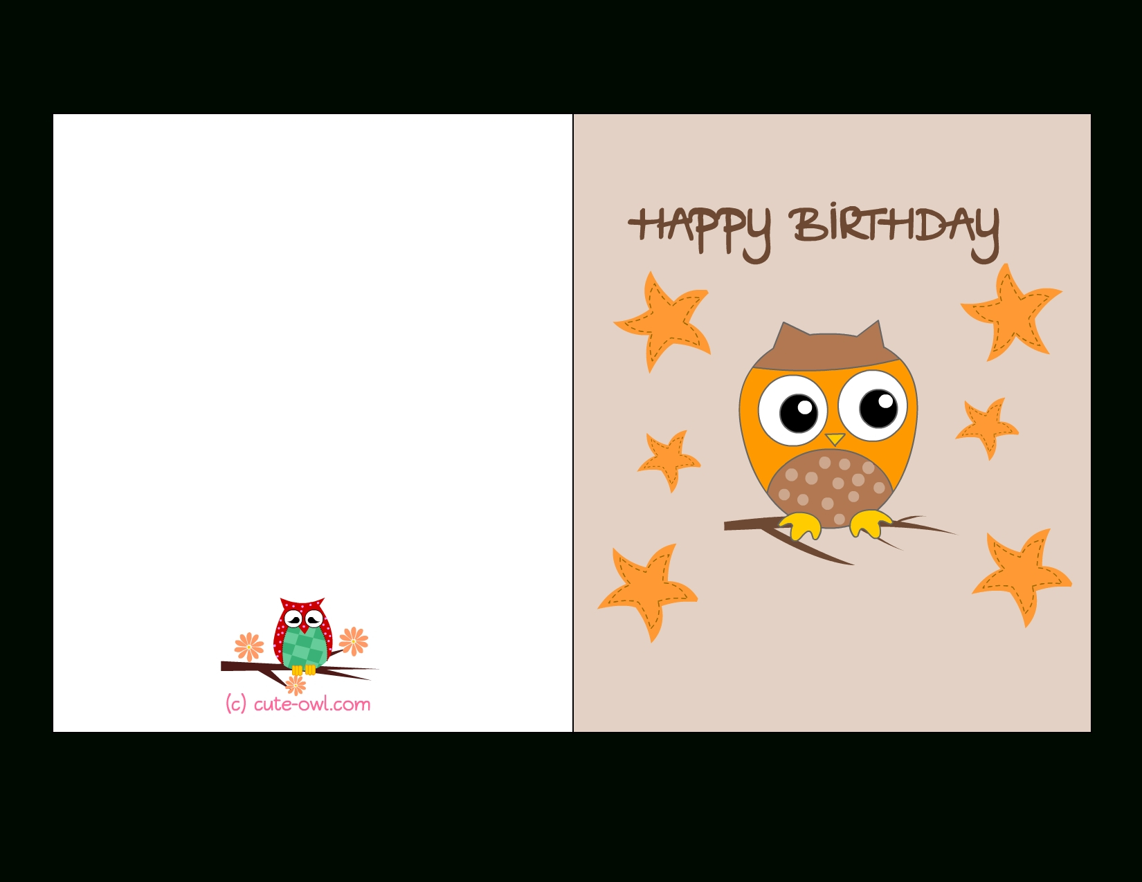 Free Printable Cute Owl Birthday Cards Within Free Printable - Free Printable Birthday Cards For Adults