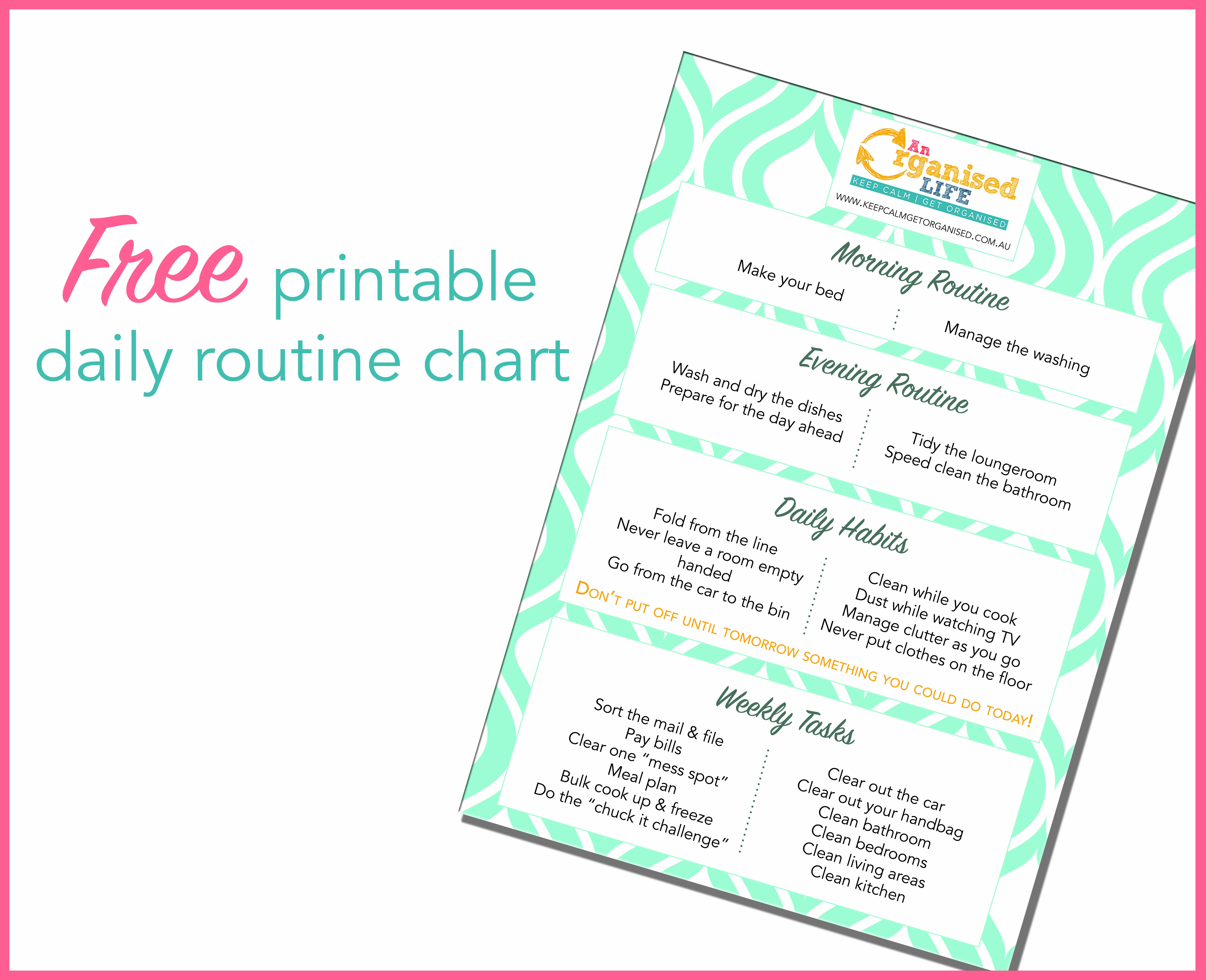 Free Printable Daily Routine Chart   Keep Calm Get Organised - Free Printable Morning Routine Chart