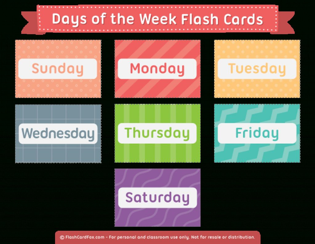 Free Printable Days Of The Week Cards | Free Printable - Free Printable Days Of The Week Cards