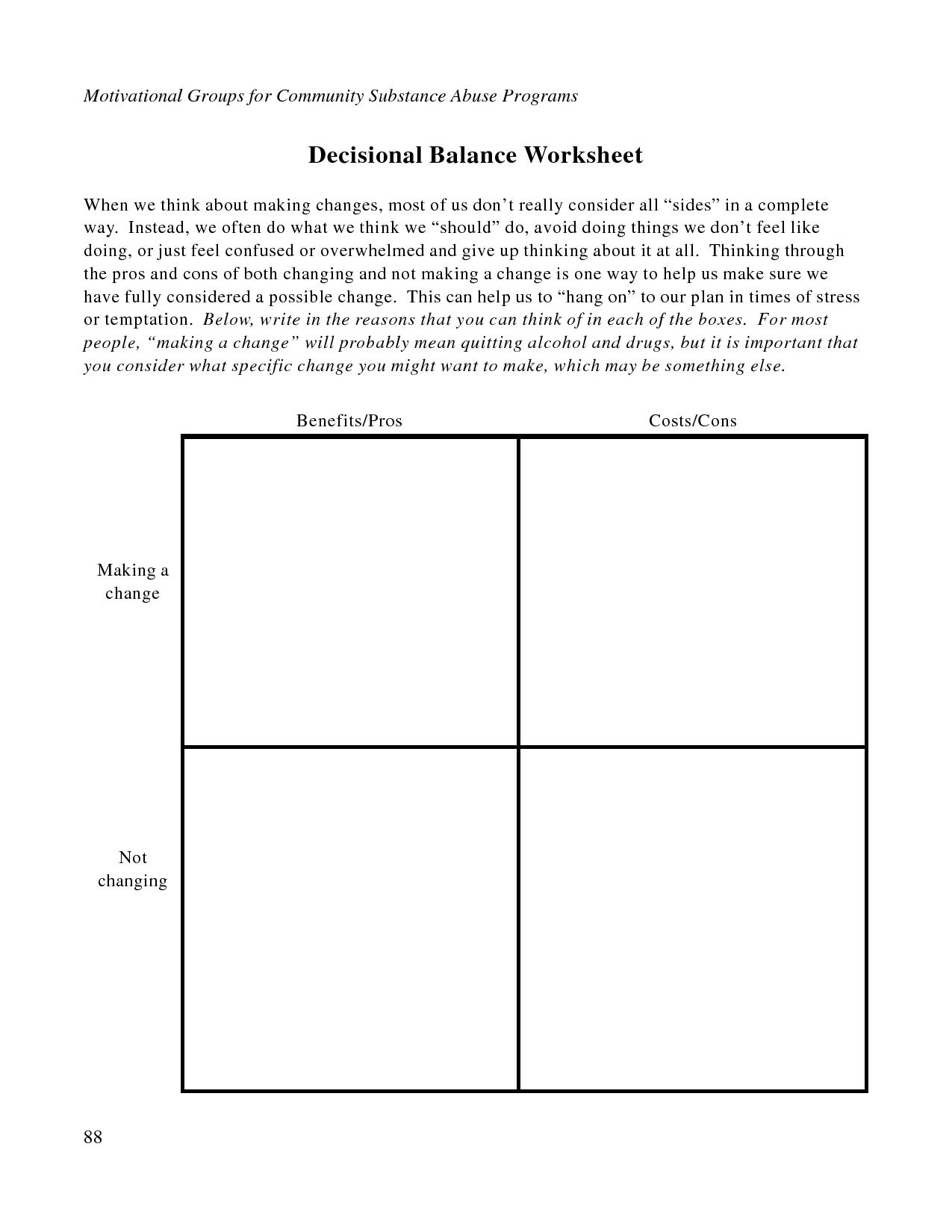 Free Printable Dbt Worksheets   Decisional Balance Worksheet - Pdf - Free Printable Recovery Games
