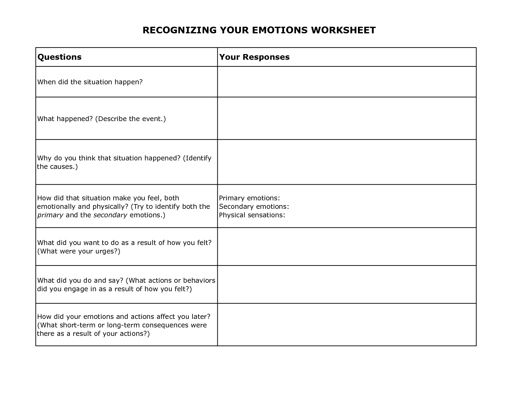 Free Printable Dbt Worksheets | Recognizing Your Emotions Worksheet - Free Printable Coping Skills Worksheets For Adults