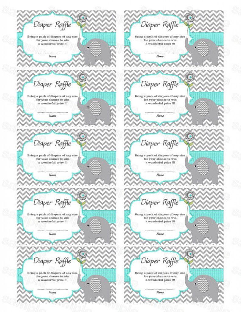 Free Printable Diaper Raffle Tickets Elephant   Free Printable - Free Printable Diaper Raffle Tickets Elephant