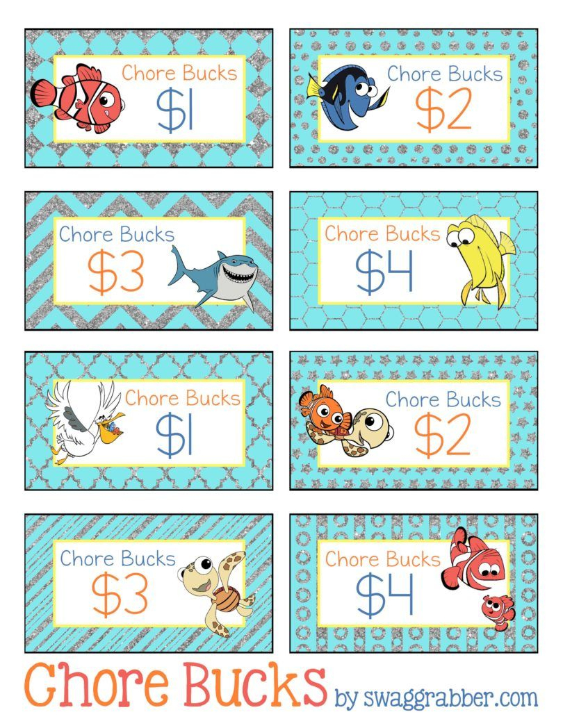 Free Printable Disney Finding Nemo Chore Bucks | Family, Fun, Food - Free Printable Chore Bucks