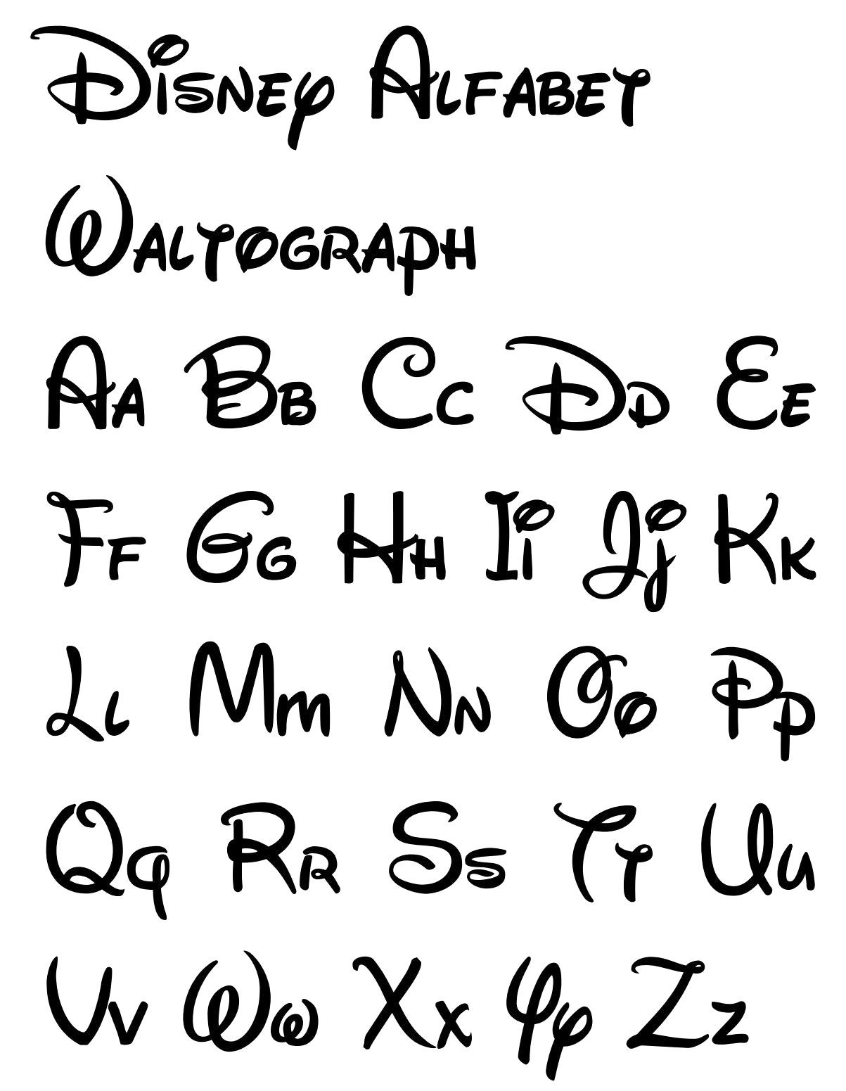 graphic regarding Printable Calligraphy Stencils known as Free of charge Printable Disney Letter Stencils Disney Pinterest