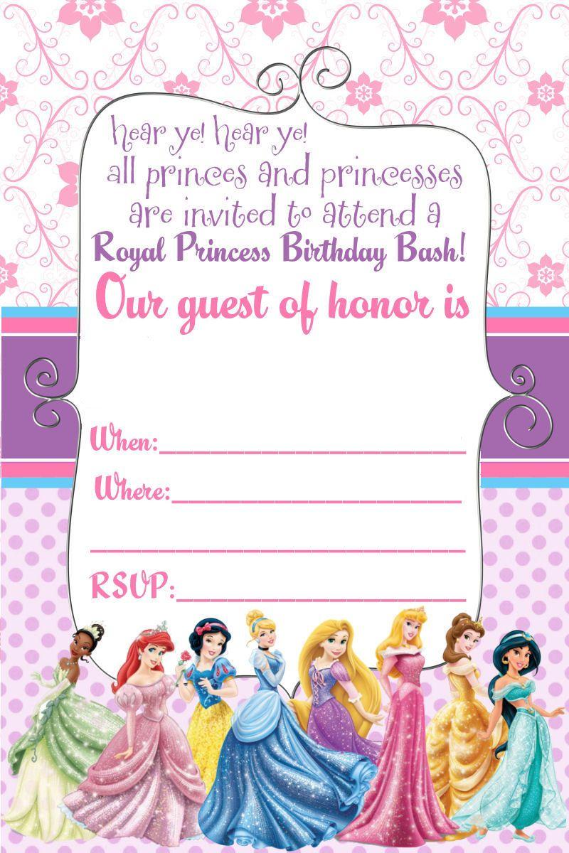 Free Printable Disney Princess Birthday Invitations   Birthday Ideas - Disney Princess Free Printable Invitations