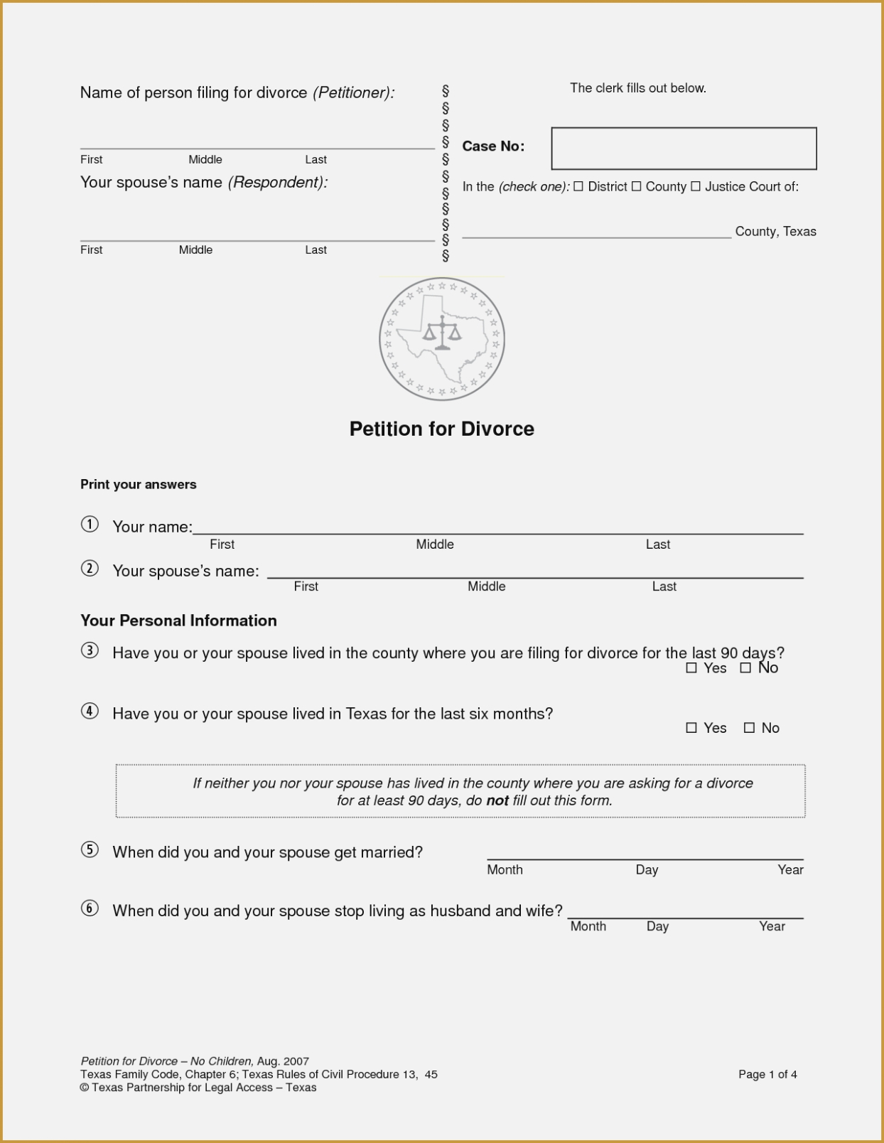 Free Printable Divorce Forms Texas | Bestprintable231118 - Free Printable Divorce Forms Texas
