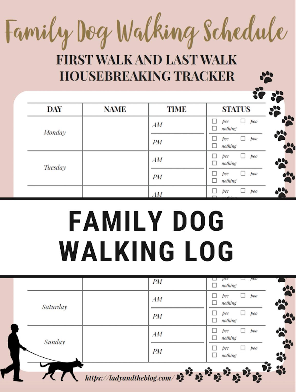 Free Printable Dog Walking Log - How To Set A Schedule And Develop A - Free Printable Walking Log