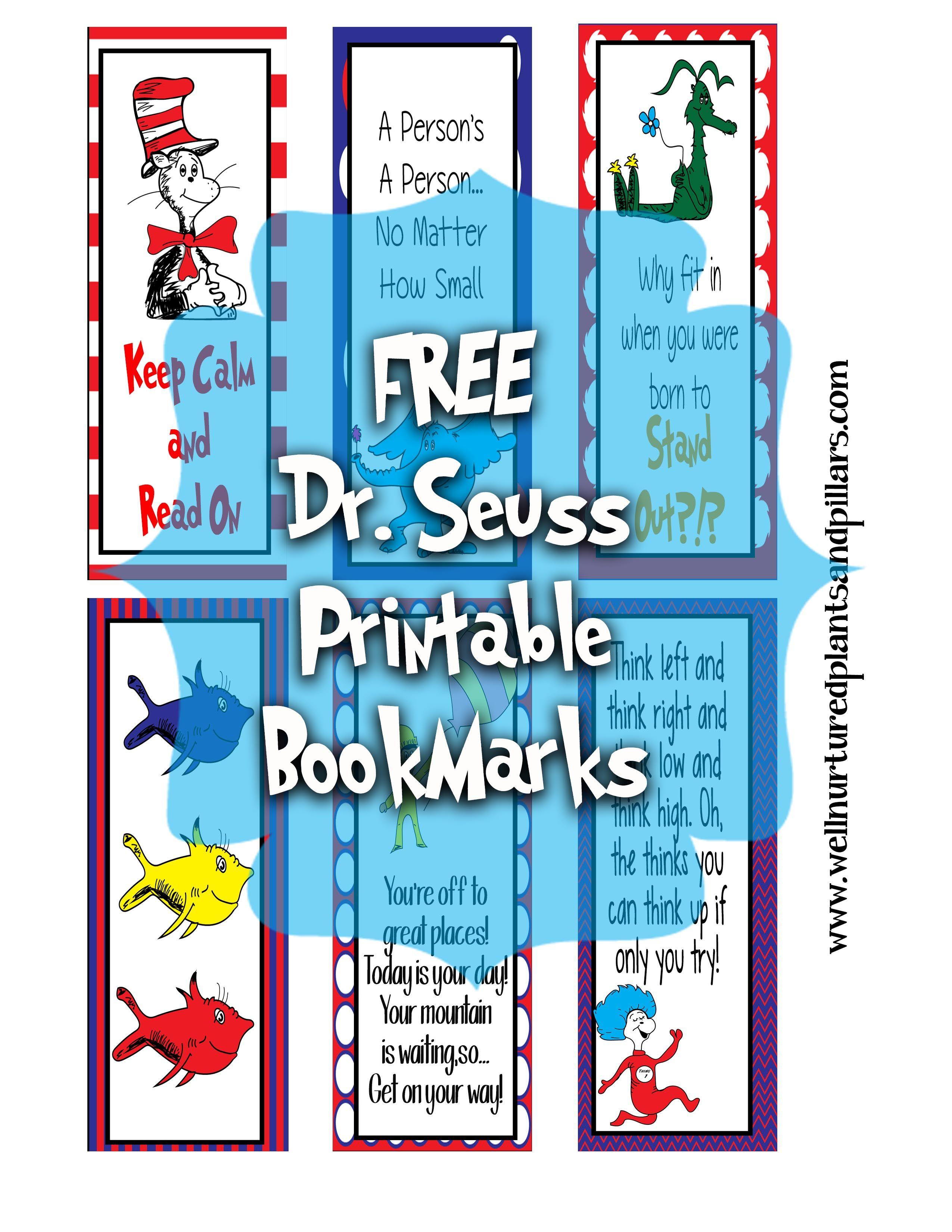 Free Printable Dr. Seuss Bookmarks | Free Printables For - Free Printable Baby Bookmarks