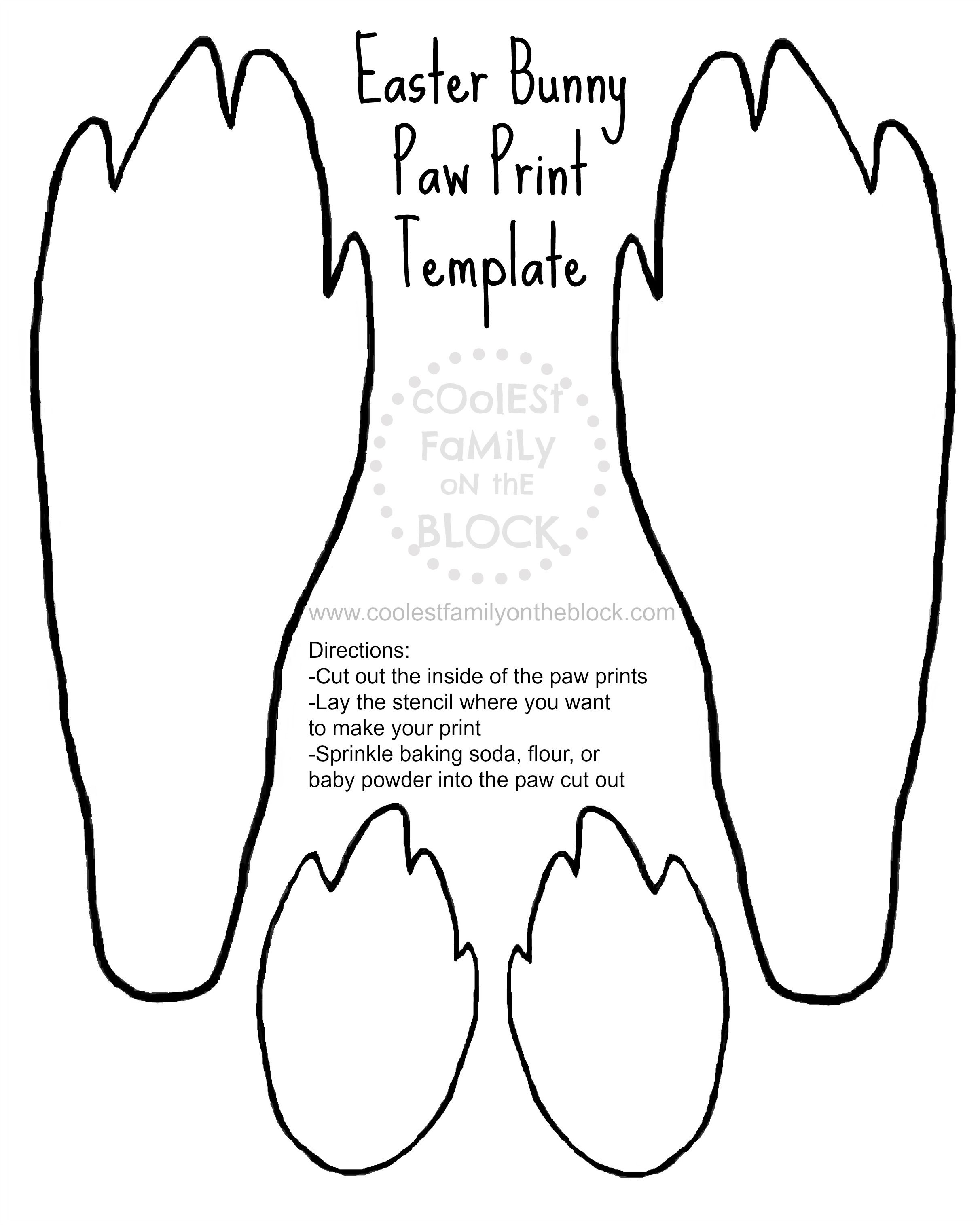 Free Printable Easter Bunny Paw Prints Template: Front And Back Paws - Free Printable Easter Masks