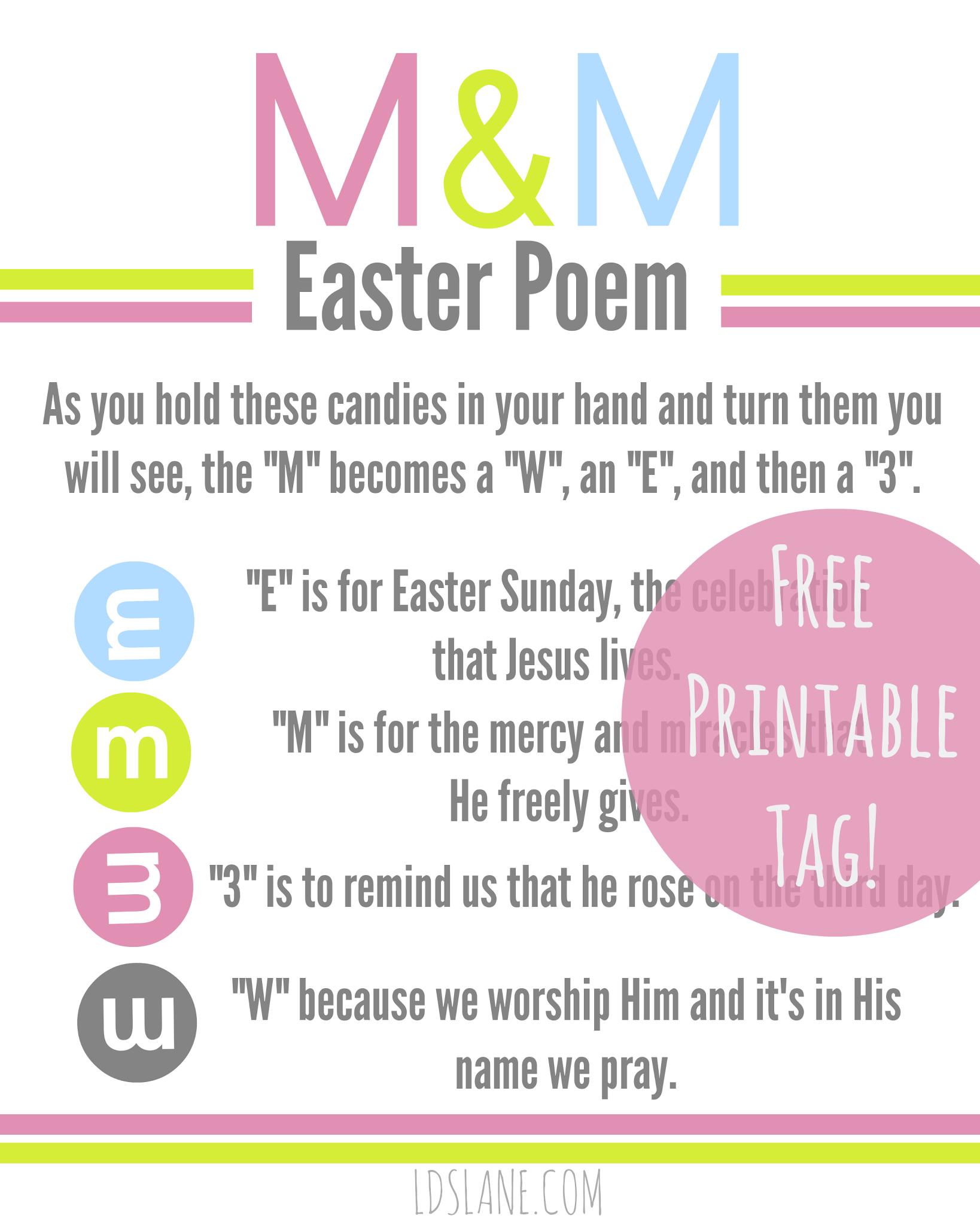 Free Printable: Easter M & M Poem Tags   Diy Easter   Easter Poems - Free Printable Easter Stuff