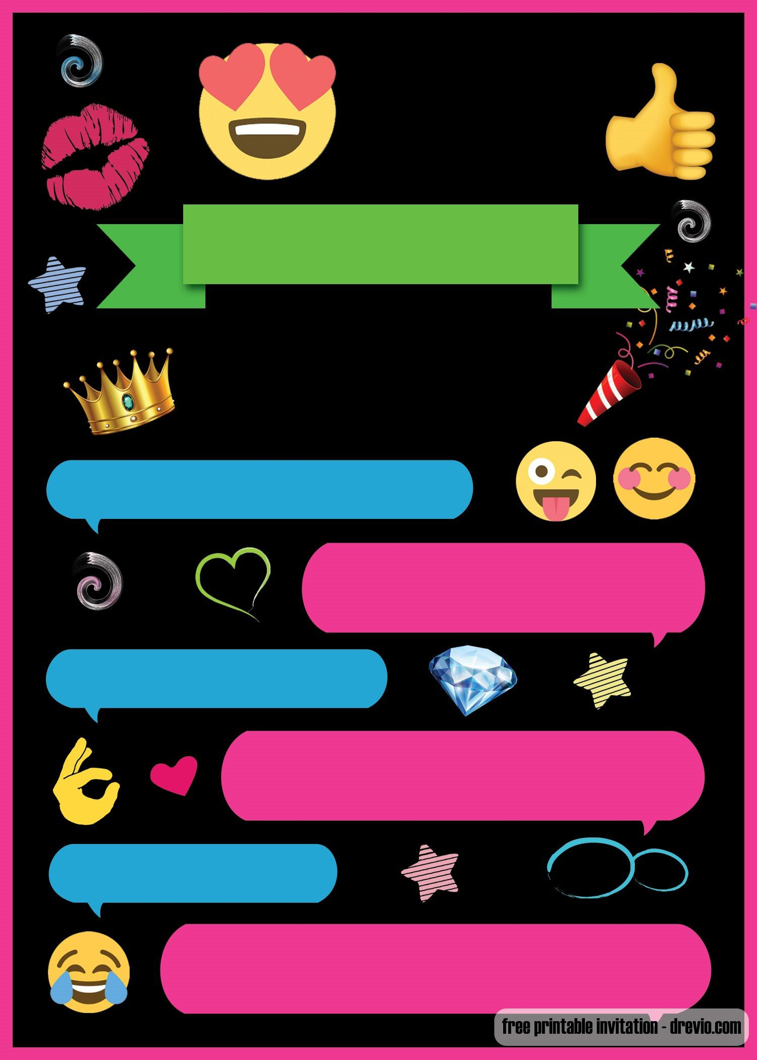 Free Printable Emoji Chat Invitation   Julyssea   Free Invitation - Emoji Invitations Printable Free